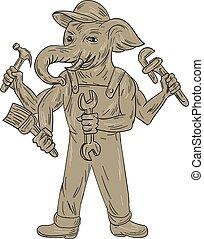 ganesha, handyman, desenho, ferramentas, elefante