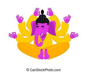 Ganesha hindu yoga elephant. indian god animal