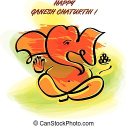 Ganesha in watercolor painting style