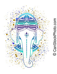 Ganesha, or Ganapati, Indian deity in the Hindu, in blue color isolated on a white background. Paint gold splash. illustration for design of prints, web, festive, Chaturthi invitations.