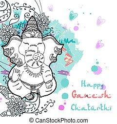 ganesha, indien, fête, dieu, illustration, anniversaire