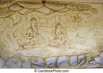 Ganesha Scripting Mahabharata - Wall panel at Shaktinagara...