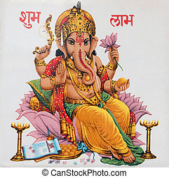 Ganesha sitting on lotus flower, In - Ganesha is one of the...