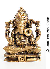 Ganesha statue. Indian religion statue on isolated white...