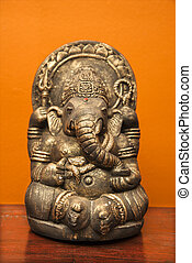Ganesha statue. - Statue of Hindu elephant Ganesha against...