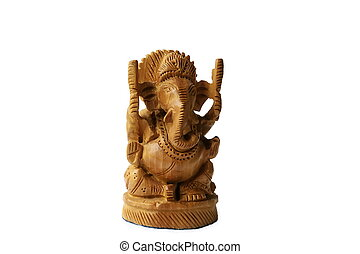 Ganesha statuette on a white background