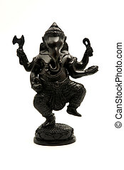 Ganesha - Statue of the hinduist god Ganesha on a white...