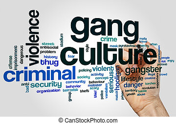 Gang culture word cloud concept on grey background
