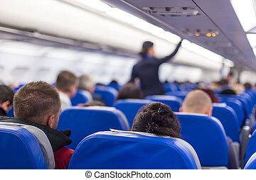 gang, gehen, gewerblich, stewardeß, flugzeug.