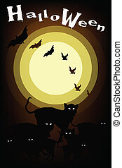 Gang of Halloween Cats on Full Moon Background