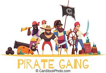 Gang Pirates Cartoon Background