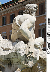 he Fontana dei Quattro Fiumi or Fountain of the Four Rivers is a fountain in Rome, the details showing the river-god Ganges, Italy