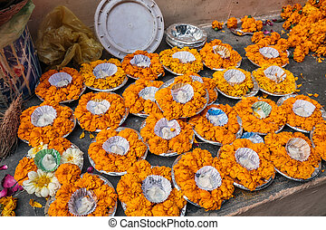 Ganges river candles prepeared for night holy ritual at...