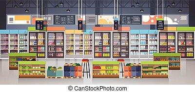 gangpad, kruidenierswinkel, concept, planken, shoppen , consumentisme, items, supermarkt, detailhandel