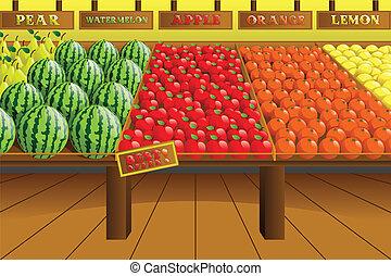 gangpad, kruidenierswinkel, produceren, winkel