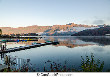 Gangplank at Lake Kawaguchi in the morning Kawaguchi-ko, ...