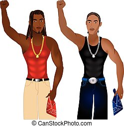 Gangs United - Vector Illustration of two gangs standing in...