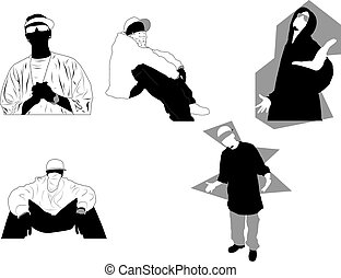 Gangsta poses and attitudes. Ideal for street and/or hip hop...