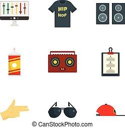 Gangsta rap icon set, flat style - Gangsta rap icon set....
