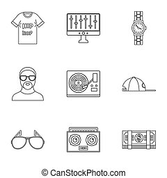 Gangsta rap icon set, outline style - Gangsta rap icon set....