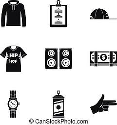 Gangsta rap icon set, simple style - Gangsta rap icon set....