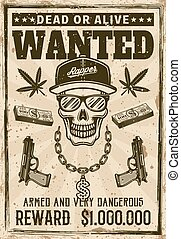 Gangsta rapper skull in snapback cap wanted poster - Gangsta...