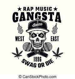 Gangsta rapper skull in snapback vector emblem - Gangsta...