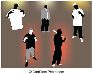 Gangsta set - Set of gangsta 5 poses and attitudes. Ideal ...