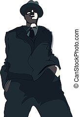 Gangsta - Young gangster in suit and hat. Vector...