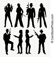 Gangster action silhouettes - Gangster with gun, male and...