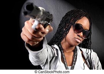 gangster, américain, afro, frais