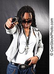 gangster, amerikanische , afro, kühl