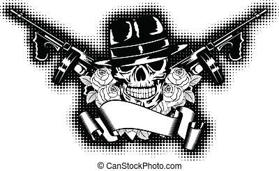 gangster and rose - Vector illustration gangster, roses,...