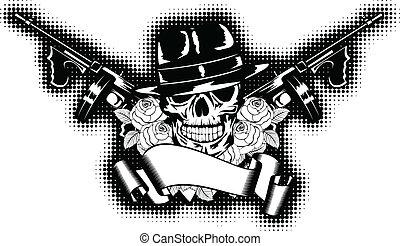gangster and rose - Vector illustration gangster, roses, ...