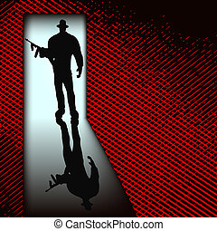 Gangster at the door, vector background with a mafia style gunman