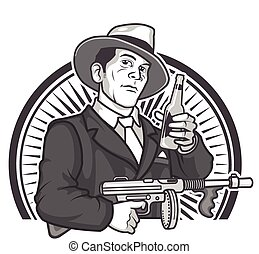 Gangster Beer - Vector Illustration of Male Gangster in 1930...