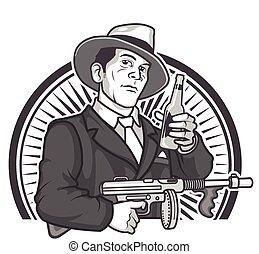 Gangster Beer - Vector Illustration of Male Gangster in 1930...