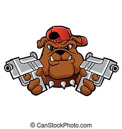 gangster bulldog  with pistols