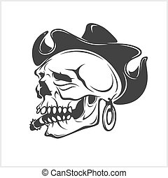 gangster, -, chapeau, crâne, cow-boy