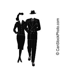 gangster couple from vintage years in silhouette