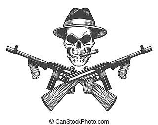 gangster, cranio, illustrazione