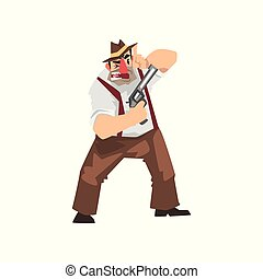 Gangster criminal cartoon character in fedora hat with gun...