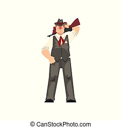 Gangster criminal character in fedora hat with assault rifle vector Illustration on a white background