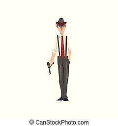 Gangster criminal character in fedora hat with revolver vector Illustration on a white background