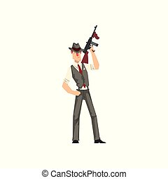 Gangster criminal character in fedora hat with weapon vector Illustration isolated on a white background
