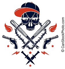 Gangster emblem logo or tattoo with aggressive skull ...