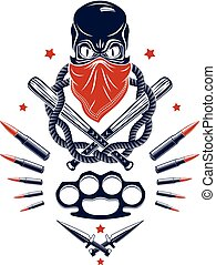 Gangster emblem logo or tattoo with aggressive skull baseball bats and other weapons and design elements, vector, criminal ghetto vintage style, gangster anarchy or mafia theme.