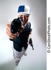 Gangster! - Gangsta in a bullet proof vest.