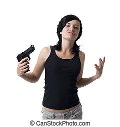 gangster, girl, fusil