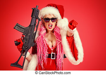gangster girl - Expressive sexy babe dressed as Santa Claus...